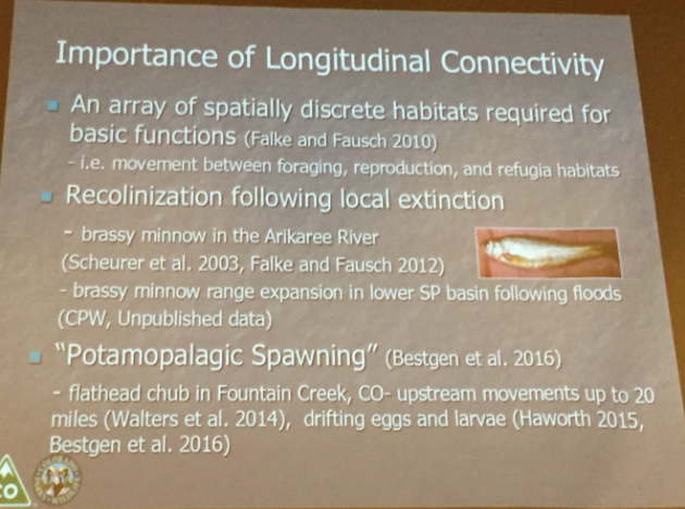 The importance of Longitudinal Connectivity. Slide via Boyd Wright, South Platte Forum, October 26, 2016.