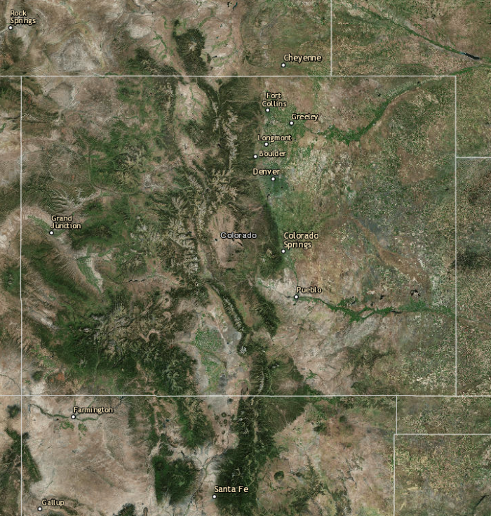 Landsat view of Colorado via the USGS.
