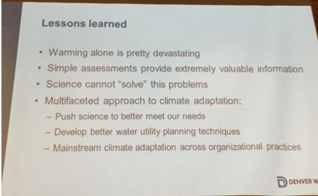 Lessons learned. Slide via Laurna Kaatz, South Platte Forum, October 27, 2016.