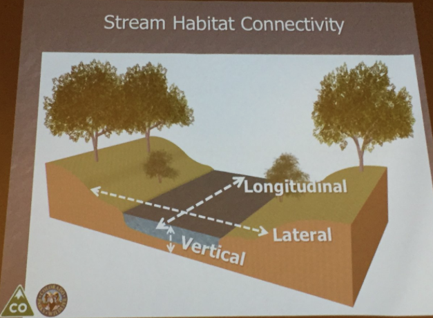 Stream habitat connectivity. Slide via Boyd Wright (CPW), South Platte Forum, Octoberr 26, 2016.