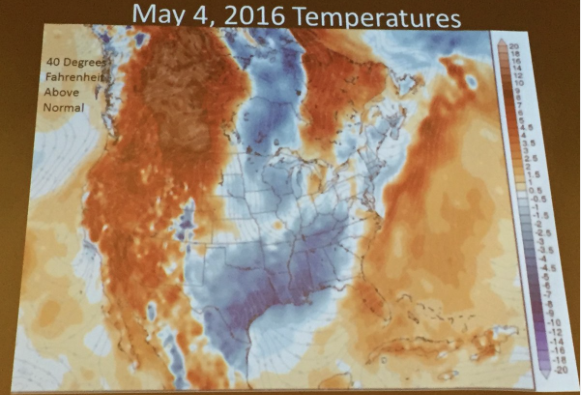 Extreme events, temperatures above normal May 4, 2016. Slide via Brad Udall, South Platte Forum, October 27, 2016.