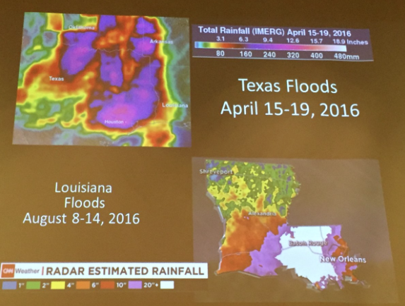 Extreme flooding: Texas, April 2016; Louisiana, August 2016. Slide via Brad Udall, South Platte Forum October 27, 2016.