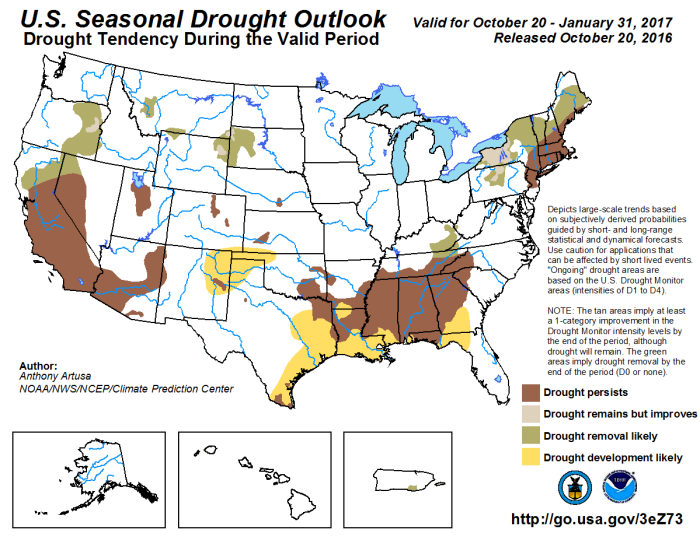 Three month drought outlook through January 31, 2017 via the Climate Prediction Center.