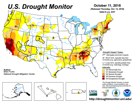 US Drought Monitor October 11, 2016.