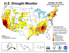 US Drought Monitor October 18, 2016.