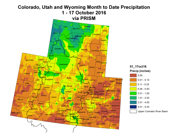 Upper Colorado River Basin month to date precipitation though October 18, 2016.