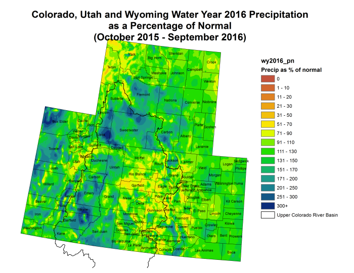 Upper Colorado River Basin precipitation as a percent of normal for Water Year 2016 via the Colorado Climate Center.