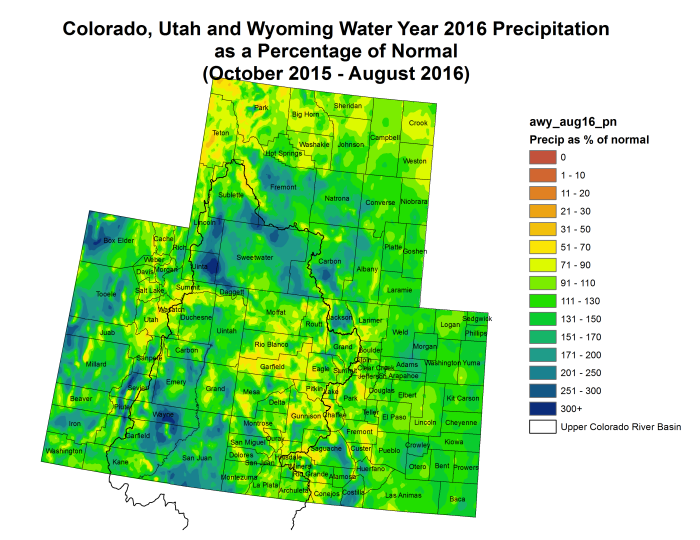 Upper Colorado River Basin Water Year 2016 precipitation as a percent of normal through August 31, 2016 via the Colorado Climate Center.