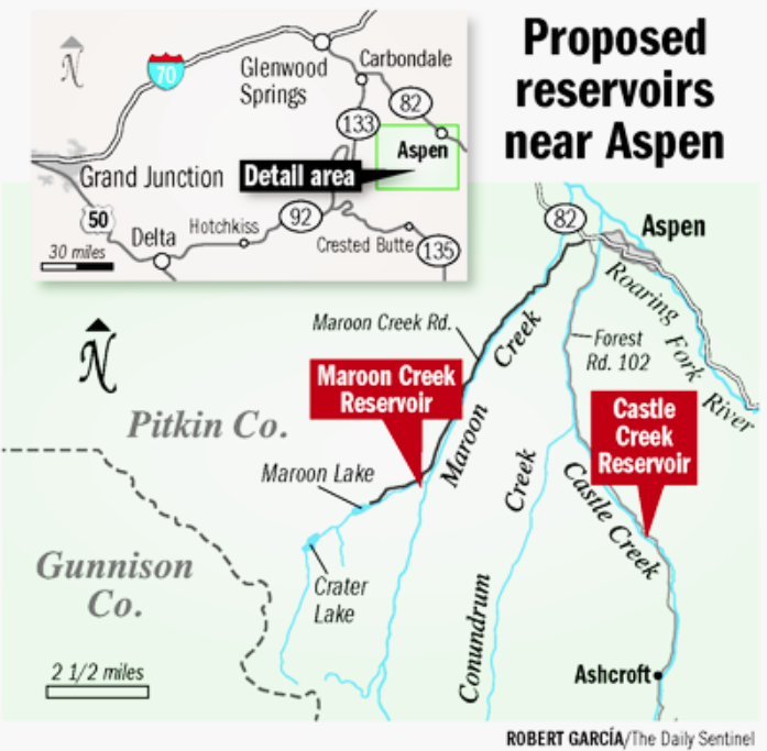 Site map for the proposed reservoirs on Castle and Maroon creeks via Robert Garcia and The Grand Junction Daily Sentinel.