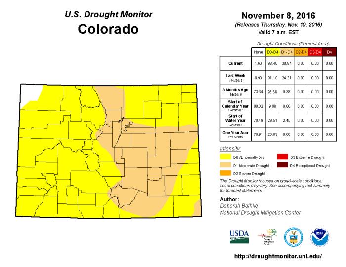 Colorado Drought Monitor November 8, 2016.