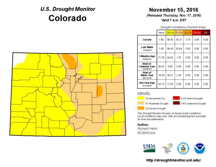 Colorado Drought Monitor November 15, 2016.