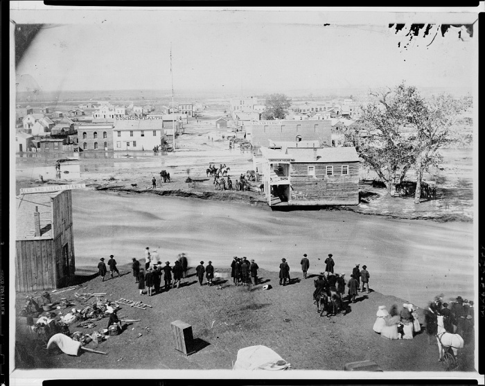 Great flood Denver May 19, 1864 via the Library of Congress. Photo credit George Wakely.