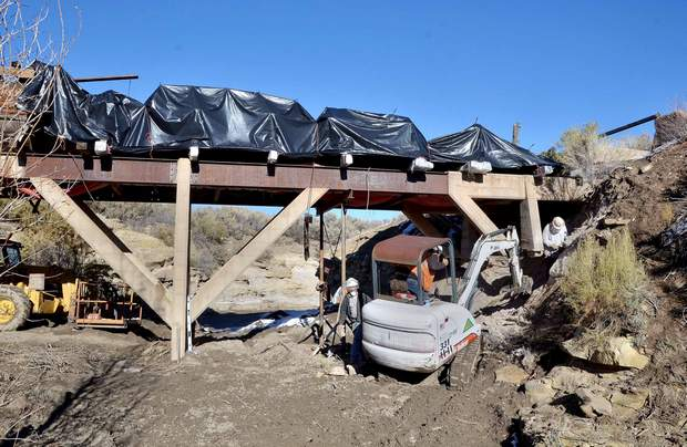 Triad Western Constructors restored the foundation McElmo Flume historical site. The structure was stabilized with new concrete footers and the metal was restored. A pullout off U.S. Highway 160 east of Cortez allows travelers to view a piece of pioneer history. Photo credit the Cortez Journal.