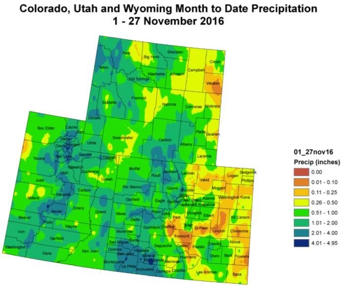 Upper Colorado River Basin month to date precipitation through November 27, 2016 via the Colorado Climate Center.