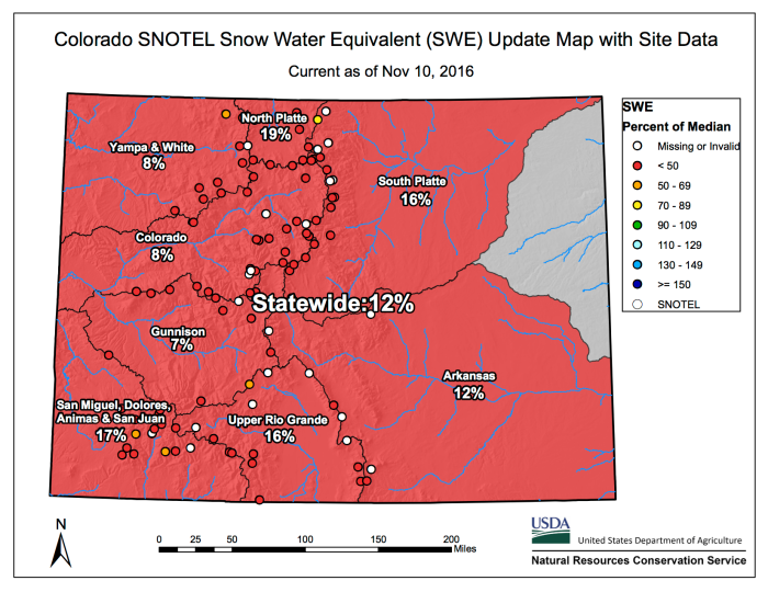 Colorado statewide snowpack November 10, 2016 via the NRCS.