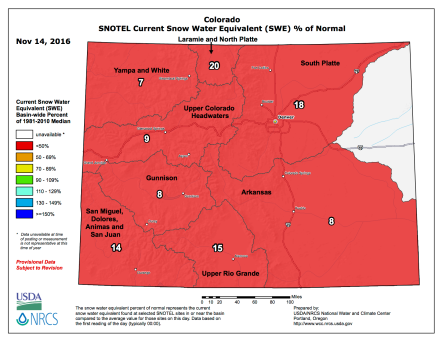 Statewide snowpack map November 14 2016 via the NRCS.