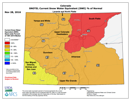 Statewide SNOTEL map November 28, 2016 via the NRCS.