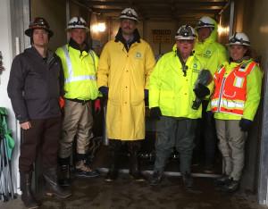 Inspection Team left to right: Nate Soule, Lithos Engineering inspector; Tim Holinka, West Slope operations supervisor; Garret Miller, Roberts Tunnel supervisor; Doug Sandrock, safety specialist; Jay Dankowski, mechanic; Erin Gleason, dam safety engineer.