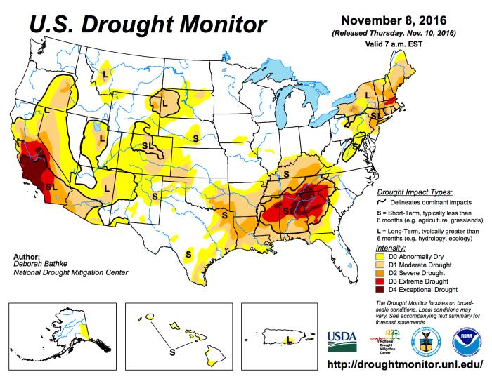 US Drought Monitor November 8, 2016.