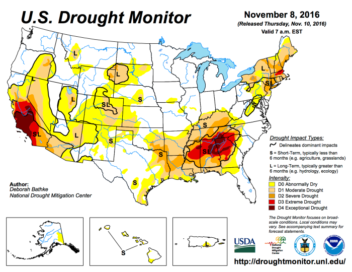 US Drought Monitor November 8, 2016.