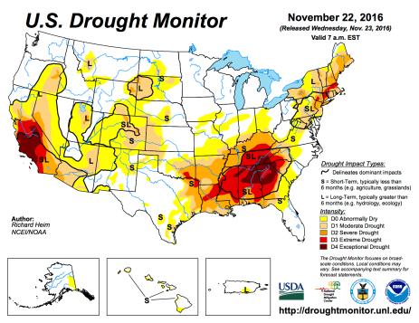 US Drought Monitor November 22, 2016.
