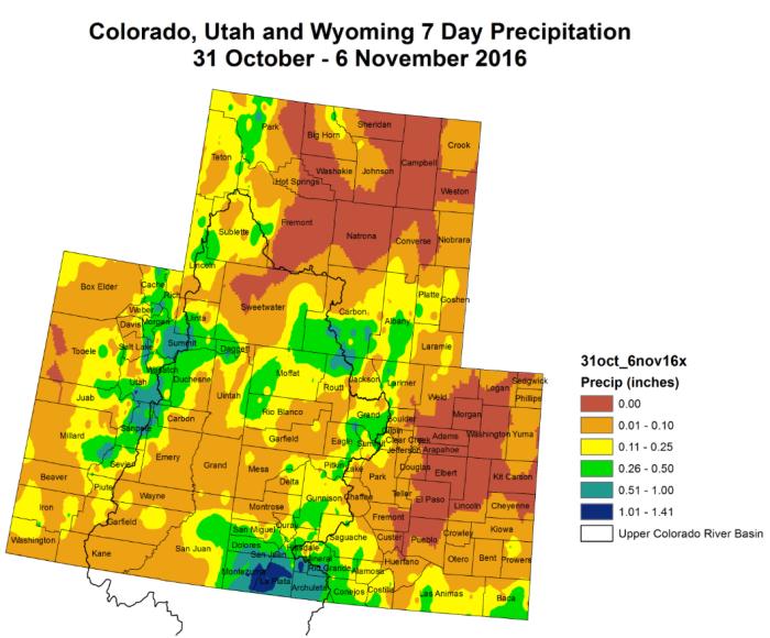 Upper Colorado River Basin 7-day precipitation October 31 through November 6, 2016.