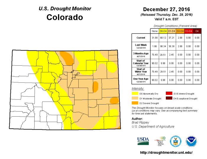 Colorado Drought Monitor December 27, 2016.