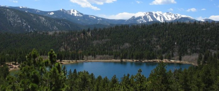 Here's a shot of O'Haver Lake from Marshall Pass Road, which rides above it. Photo credit PonchaSprings.org.
