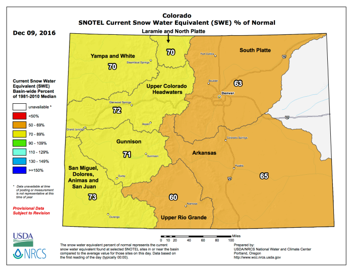 Statewide snowpack map December 9, 2016 via the NRCS.