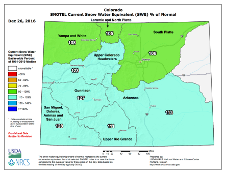Statewide snowpack December 26, 2016 via the NRCS.