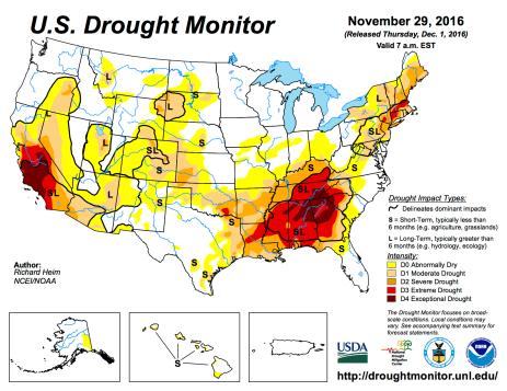 US Drought Monitor November 29, 2016.