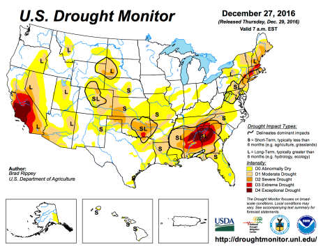 US Drought Monitor December 27, 2016.
