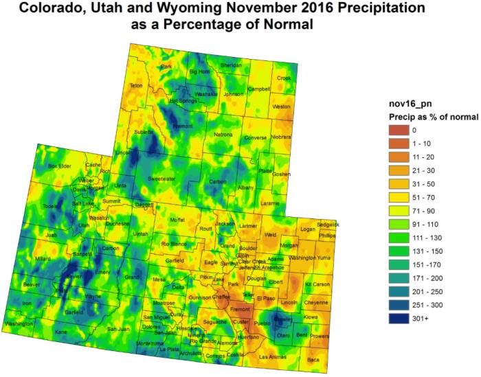 Upper Colorado River Basin precipitation as a percent of normal November 2016 via the Colorado Climate Center.