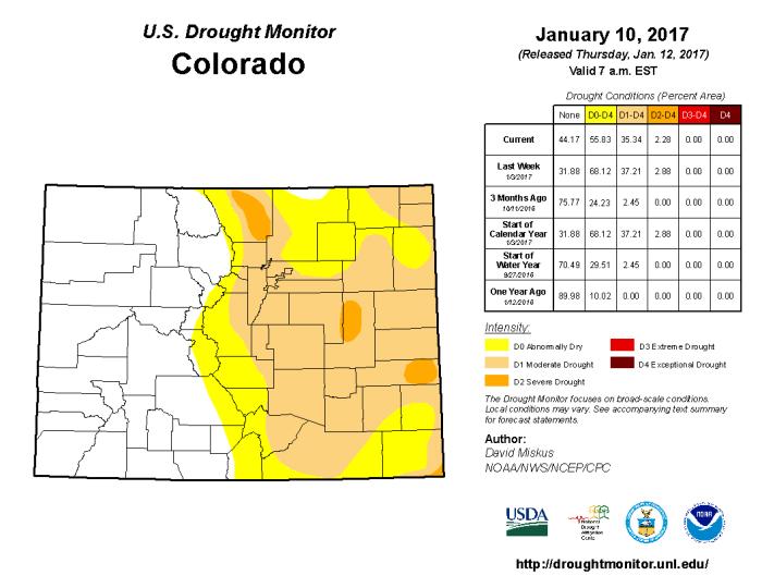 Colorado Drought Monitor January 10, 2017.