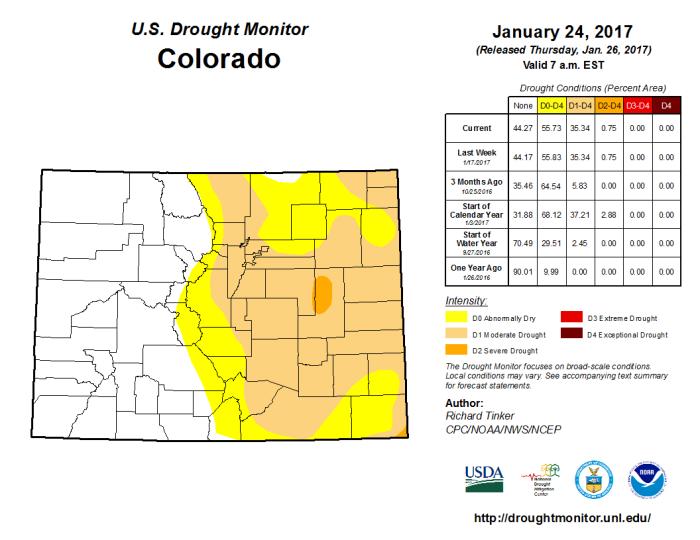 Colorado Drought Monitor January 24, 2017.