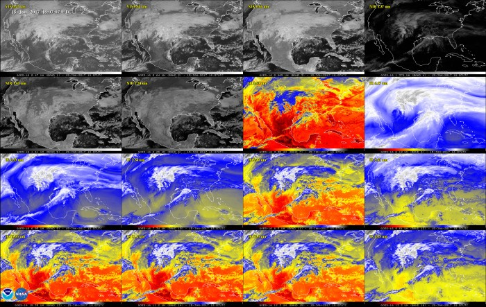 Jan 15, 2017 This 16-panel image shows the continental United States in the two visible, four near-infrared and 10 infrared channels on ABI. These channels help forecasters distinguish between differences in the atmosphere like clouds, water vapor, smoke, ice and volcanic ash. GOES-16 has three-times more spectral channels than earlier generations of GOES satellites.