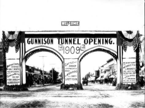 Grand opening of the Gunnison Tunnel in Colorado 1909. Photo credit USBR.