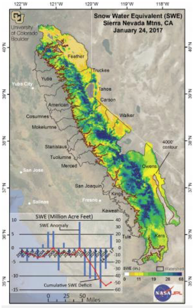 A map showing snow-water equivalent totals in California's Sierra Nevada range as of Jan. 24, 2017. Credit: Leanne Lestak / University of Colorado Boulder.