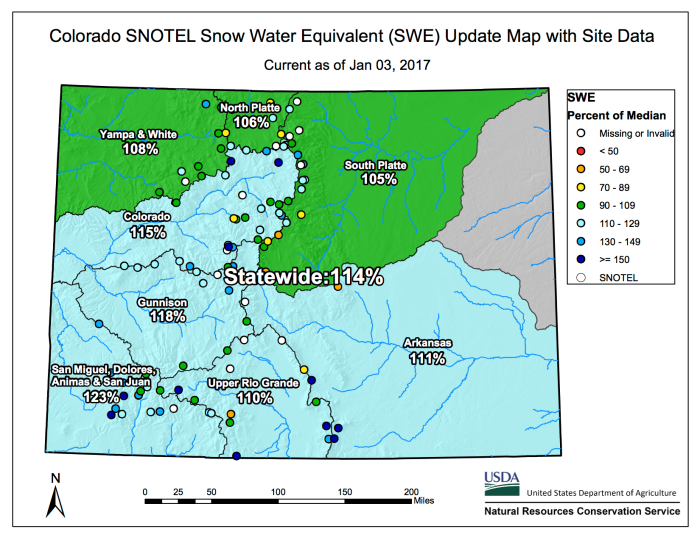 Statewide snowpack map January 3, 2017 via the NRCS.