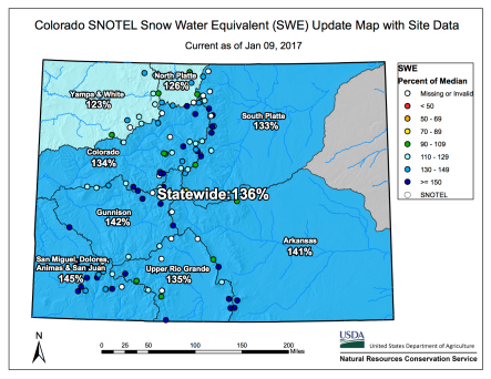 Statewide snowpack basin-filled map with point data January 9, 2017 via the NRCS.