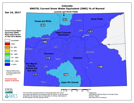 Statewide snowpack January 16, 2017 via the NRCS.