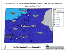 Statewide snowpack January 17, 2017 via the NRCS.