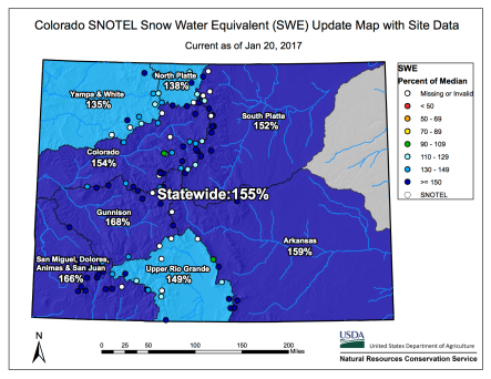 Statewide snowpack January 20, 2017 via the NRCS.