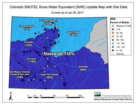 Statewide snowpack basin-filled map January 30, 2017 via the NRCS.