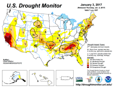 US Drought Monitor January 3, 2017.