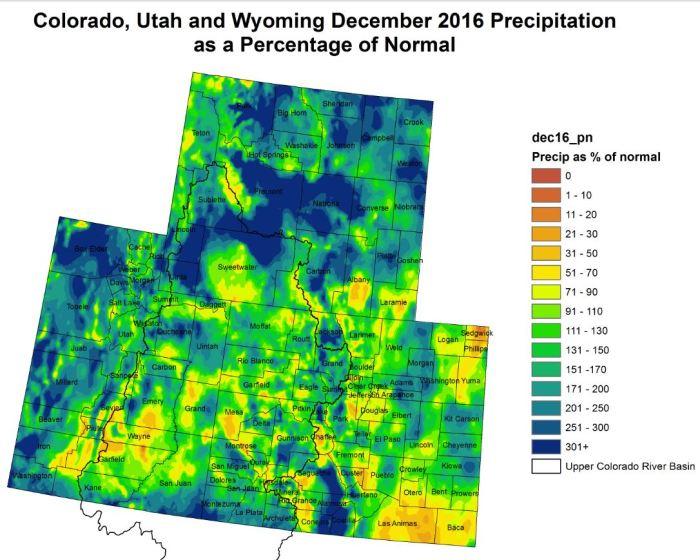 Upper Colorado River Basin December 2016 precipitation as a percent of normal via the Colorado Climate Center.