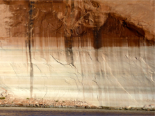 A wall bleached, and stained, in Lake Powell. Photo credit Brent Gardner-Smith @AspenJournalism.
