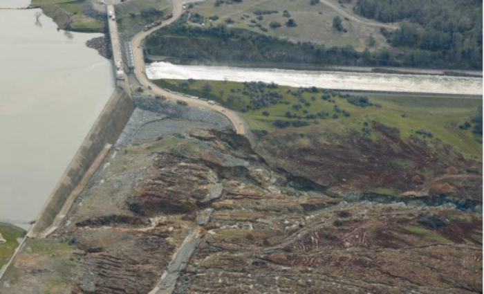 Erosion below the emergency spillway at the Oroville Dam site, via Hamodia