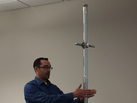 Karl Wetlaufer (NRCS), explaining the use of a Federal Snow Sampler, SnowEx, February 17, 2017.