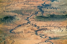 Nearly the full length of Lake Powell on the Colorado River in southern Utah and northern Arizona is visible in this photograph shot by an astronaut aboard the International Space Station, on Sept. 6, 2016. The view is toward the southwest. Water flow is from the lower right toward the top. (Source: NASA Earth Observatory)